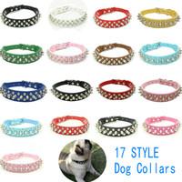17 Nuevos collares de perro del estilo del color del caramelo Remache de cuero de la PU perrito claveteado Collar tachonado perro de mascota cuello ajustable collare bastón