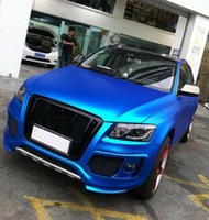 Cetim azul Matte Metallic Chrome Vinil Wrpa Etiqueta Do Carro Multi-tamanho CarProtection