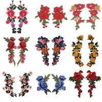 Broderie Rose Flower coudre sur / fer sur patch Applique DIY Crafts Stiker pour Jeans Hat Sac Vêtements Accessoires Badges 2PC / Set