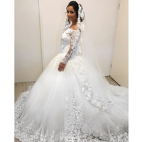 2019 New Lace Ball Gown Wedding Dresses Long Sleeve Bateau N...