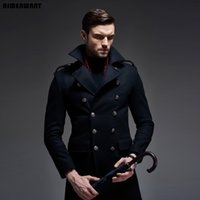 Brand 2018 New Design Double Breasted Causal Wool Coat For Mens High Quality ermany Woolen Jacket Long Pea Coat