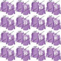 Pittsburgh Jersey Purple Kämpfe Krebs Praxis 58 Kris Letang 59 Jake Guentzel 62 Carl Hagelin 72 Patric Hornqvist Hockey Trikots
