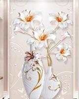 مخصص الحجم 3d مجسمة الإغاثة الزهور زهرية مدخل غرفة المعيشة خلفية خلفية جدارية تصاميم 3d عازلة للصوت جدارية ورق الحائط