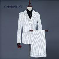 رجل مقلمة دعوى الأبيض مخطط النسيج مناسبة لاستضافة حفل زفاف المغني الرجال تناسب الرجال 2 قطعة الدعاوى (سترة + سروال)