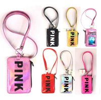 Pink Letter Card Slot Holder Zip Case with Lanyard phone Str...