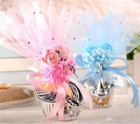 الجدة سوان الحلوى مربع رومانسية الزفاف الإحسان أكياس هدية أكياس البلاستيك الحرير محاكاة زهرة ديكور الأورجانزا واضح السكر 2 48sq zz