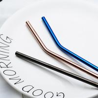 20 pièces 7 couleurs 304 en acier inoxydable paille à boire 21cm réutilisable lisse bord meunier Bent Straight métal paille bar partie accessoires
