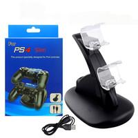 PS4 PRO SLIM denetleyicisi için DUAL USB şarj standı kablosuz Sony Playstation PS 4 Oyun Şarj için ChargeDock Yerleştirme Cradle Istasyonu