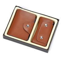 venta caliente de 26 ranuras de la moda caja de la tarjeta bancaria nueva identificación de la carpeta de cuero natural 2 PC fijó clave tarjetero bolsa