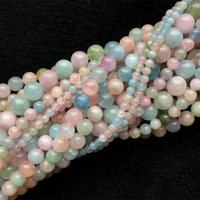 """Di alta qualità genuino naturale multicolore verde rosa blu acquamarina beril morganite rotondo sciolto perline 4-12mm 16 """"05692"""