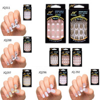 24 pcs Superbes motifs français faux ongles ABS résine fausse ongle set complet manucure art