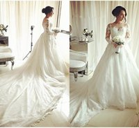2018 Elegant Applique Ball Gowns Wedding Dresses Jewel Long ...
