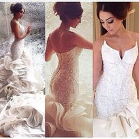 2018 Sexy White Strapless Mermaid Wedding Dresses Lace Up Or...