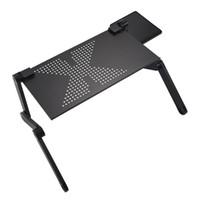 Freeshipping beweglicher faltbarer justierbarer Laptop-Schreibtisch-Computer-Tabellen-Standplatz-Behälter für Sofabett-Schwarzes