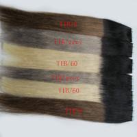 Düz 40 adet paket başına Ombre Balayage Sıcak Satış Renk # 1B # 613 Sarışın Gerçek İnsan Saç Ekstansiyonları 40 adet Sarışın Remy Bant Saç