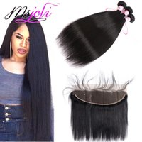 9A Indian Virgin Hair Weaves Extensions With 13x4 Lace Front...