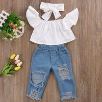 Nova Moda Crianças Roupas Das Meninas Fora do ombro Colheita Tops Branco + Buraco Jeans Pant Jeans Headband 3 PCS Criança Conjuntos de Roupas de Bebê