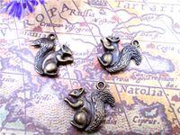 36 sztuk - Charms Squirrel Antyczne Tybetańskie Brązowe Urocze Wiewiórki Charms Wisiorki, Charms Animal 21x21mm
