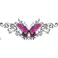 ボディアートレディースウエストベリーターニュム美しいセクシーな胸の花赤いバラの蝶パターン女性防水偽のタトゥーステッカー