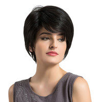 Pixie Cut Натуральные черные человеческие парики женщины натуральные короткие прямые синтетические парики 6 '/ 8' для женщин термостойкие женские части волос