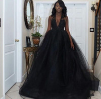 2018 Black Ball Gown Prom Dresses Plunging V Neck Lace Tulle...