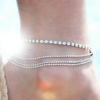 Fashion Multi- Layers Crystal Beading Silver Stretch Anklet F...