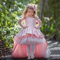 High Low Pink Cute Flower Girls Dresses For Wedding Jewel Long Sleeves Birthday Party Gowns With Big Bow Custom Made Dress For Little Girls