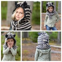 2 Colors Lovely Unicorn Hats And Scarf Set Windproof Hats Fo...