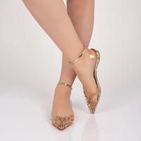 Alta Qualidade Lindo Fundo Vermelho Spikoo Plana PVC Apontou Toe Mulheres Sapatos Spikes Sandálias de Cunha de Couro Tira No Tornozelo Gladiador Sandálias