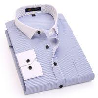 2018 Yeni Tasarımcı Bahar Moda Çizgili Erkekler Gömlekler Uzun Kollu Patchwork Anti-kırışıklık Marka Yüksek Kalite Erkekler gömlek
