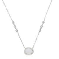 Mujeres White Opal Necklace Oval PRONG Design 41 + 5 cm Collares Colgante Elegante Collar delicado 2018 Nuevo Regalo de Joyería de Moda