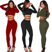 Rompers Jumpsuit Womens Jumpsuits Sexy para Mulheres 2017 Macacão Preto Macacão para Mulheres Bodysuit Two Piece Long Sleeve Women Clothing