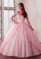 New Quinceanera Pageant Ball Gown Abiti a maniche lunghe Abiti da festa Prom Tulle Applique sexy in pizzo 16 Abiti HY4066