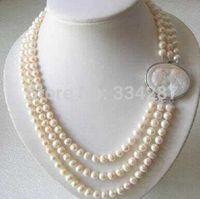 Collar genuino de 3 hileras 7-8MM Collar de perlas de agua dulce Cierre de camafeo