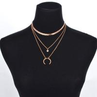 جديد الشرير القرن متعدد الطبقات المختنق القمر حجر الراين قلادة قلادة للنساء الأزياء المعادن السهام الترتر مجوهرات