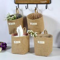 Cesta de almacenamiento tejida de lino Polka Dot Saco de almacenamiento pequeño Paño Tela no tejida Cubos de la cesta Bolsas Caja de juguetes para niños