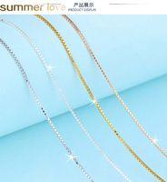 """Стерлинговое серебро 925 0.65 мм 0,8 мм Коробка цепи Ожерелье 16 """"18"""" для подвесок Оптовая изготовление ювелирных изделий"""