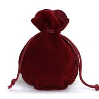 10 unids / lote Moda 7 * 9 cm Bolsa de Terciopelo Bolsa Con Cordón 6 colores Calabash Forma Joyería Embalaje Boda / Bolsa de Regalo de Navidad F3991