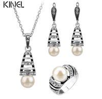 Серебряный цвет Перл ювелирные наборы для женщин выдалбливают капли воды ожерелье серьги и кольца старинные свадебные ювелирные изделия набор