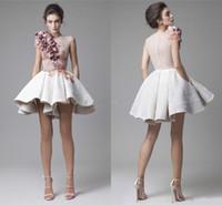 2018 새로운 Krikor Jabotian 레이스 댄스 파티 드레스 목 캡 슬리브 Shched 짧은 꽃 흰색 짧은 저녁 파티 드레스 주머니와 함께