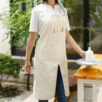 Long White Gray Canvas Crafting Painting Apron w  Pockets Ar...