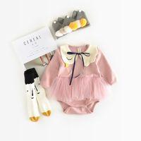الربيع والخريف جديد الفتيات رومبير الطفل الوليد طفل طويل الأكمام لينة توتو بذلة ملابس أطفال قطعة واحدة