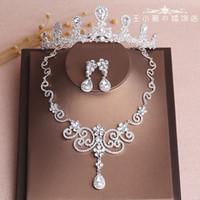 Düğün Gelin Gümüş Parlak Takı Seti Taç Headdress Kolye Küpe Düğün Aksesuarları Bling Bling Yeni Varış Kristaller Headpieces
