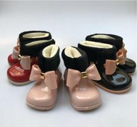 Baby Girls Botas de lluvia Baby Kids Botas de lluvia Warm Beauty Bow Rainboots Zapatos de goma de moda Toddler Kids Jelly shoes