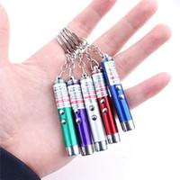 Portachiavi penna puntatore laser rosso 2in1 all'ingrosso con portachiavi LED bianco per portachiavi portatile per gatti divertenti
