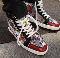 Fashionable Graffiti Beads High Top Men' s Sneakers Shoe...