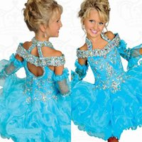 Short Ball Gown Girls Pageant Dresses Portrait Ruffle Beaded...
