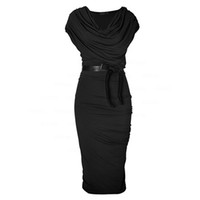 Women bodycon dress Summer Sashes Irregular Collar Midi Dres...