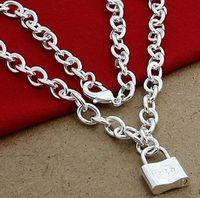 Moda nuova collana pendente quadrato serratura accessori gioielli in argento 925 uomini e donne regalo d'argento