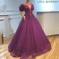 Grape Evening Dresses Jewel Sheer Neck A-Line Prom Gowns With Applique Tiered Ruffle Floor-Length Custom Made Formal Party Gowns New Style